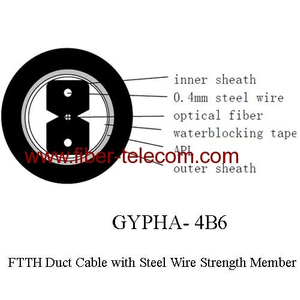 GYPHA-4B6 FTTH Duct Cable 4 Core with 0.4mm Steel Wire Strength Member