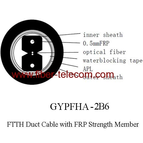 GYPFHA-2B6 FTTH Duct Cable 2 Core with 0.5mm FRP Strength Member